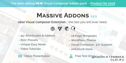 CodeCanyon - Visual Composer Extensions v1.2.1 - Massive Addons - All In One Ultimate Addon Pack - 14429839