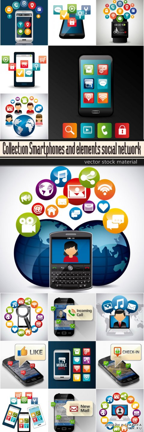 Collection Smartphones and elements social network