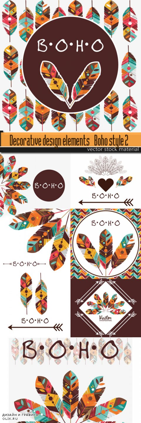 Decorative design elements - Boho style 2