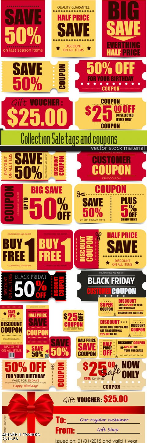 Collection Sale tags and coupons