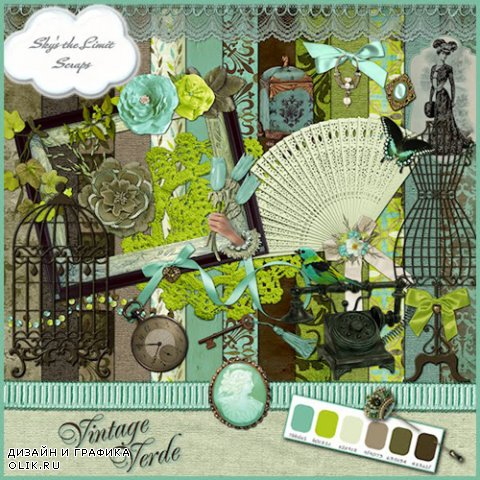 Scrap Kit - Vintage Verde (Elements, Papers)