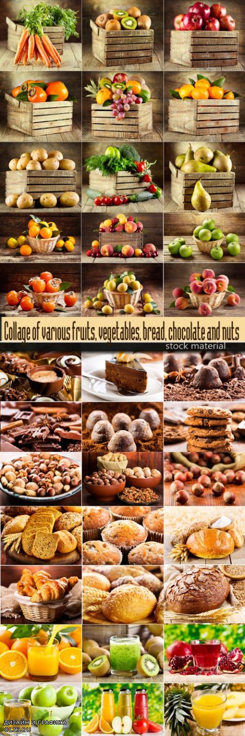Collage of various fruits, vegetables, bread, chocolate and nuts