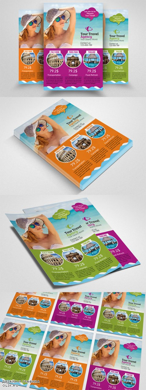 Tour Travel Agency Flyer Template - Creativemarket 553578