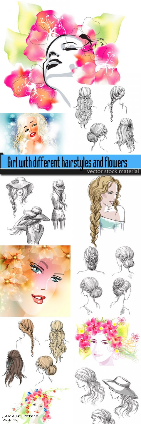 Girl with different hairstyles and flowers