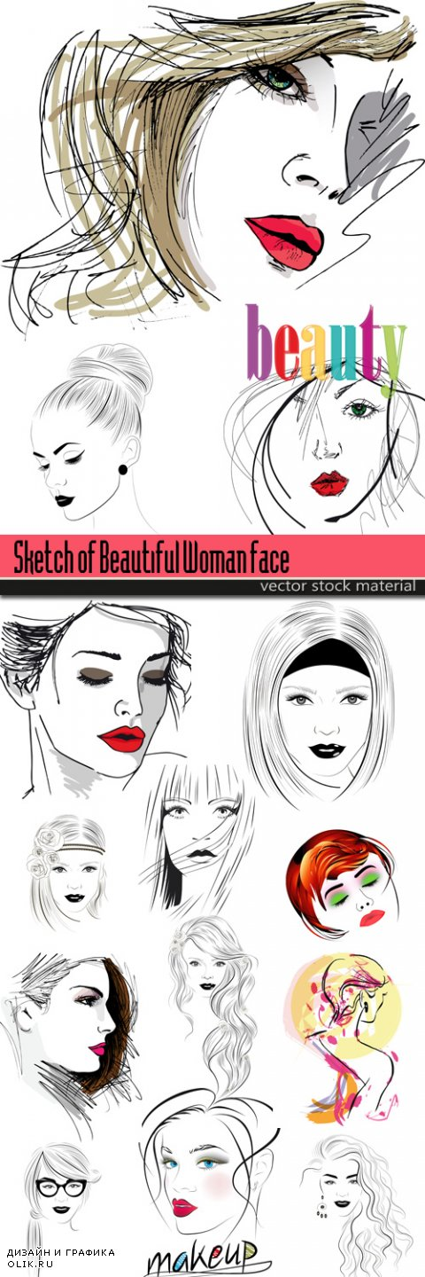 Sketch of Beautiful Woman face