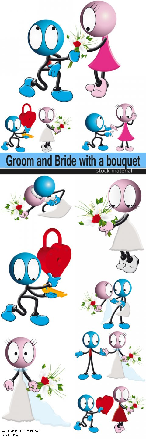 Romantic little men - Groom and Bride with a bouquet