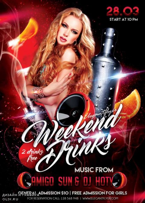 Weekend Drinks V1 Flyer PSD Template + Facebook Cover