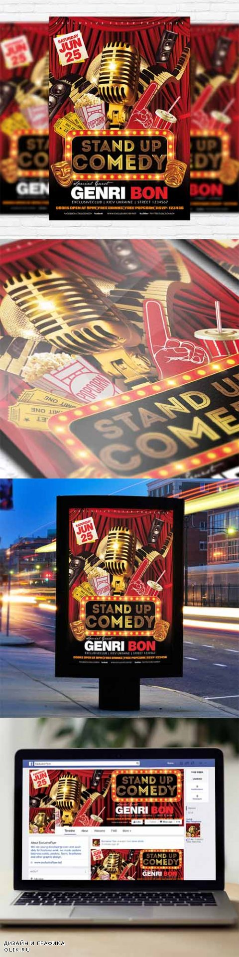Flyer Template - Stand Up Comedy Vol.2 + Facebook Cover