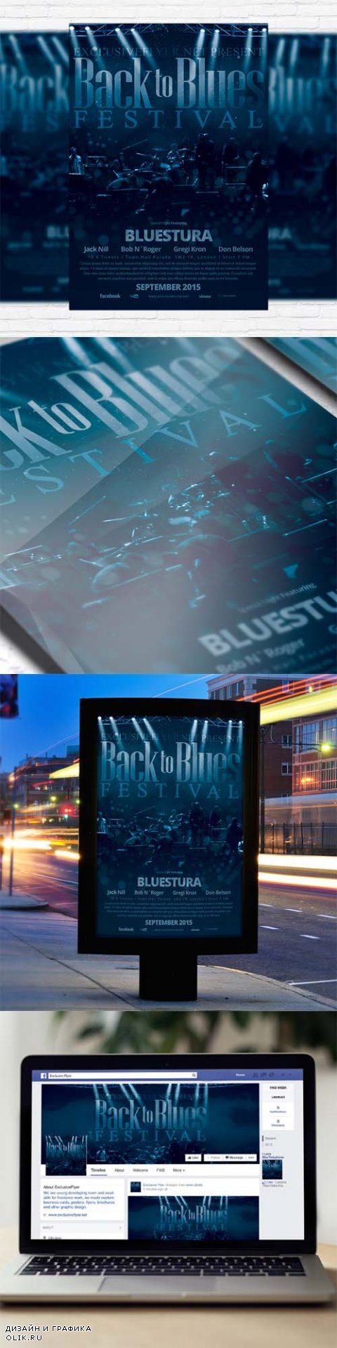 Flyer Template - Blues Festival + Facebook Cover
