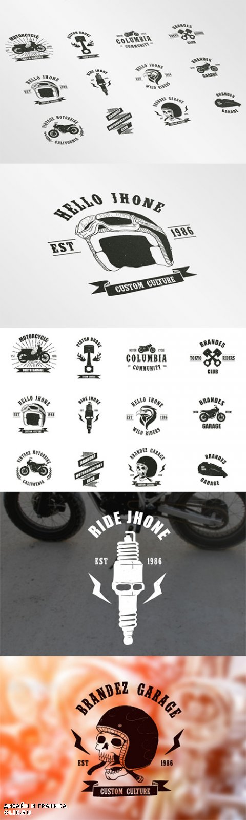 Vintage Badges Motorcycle - Creativemarket 167411