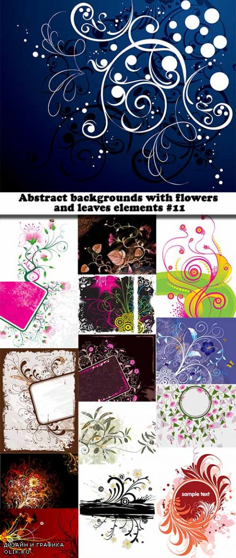 Abstract backgrounds with flowers and leaves elements #11