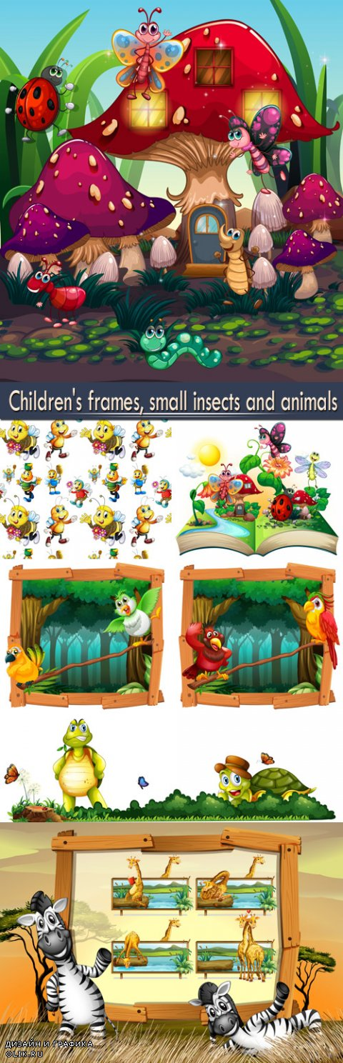 Children's frames, small insects and animals