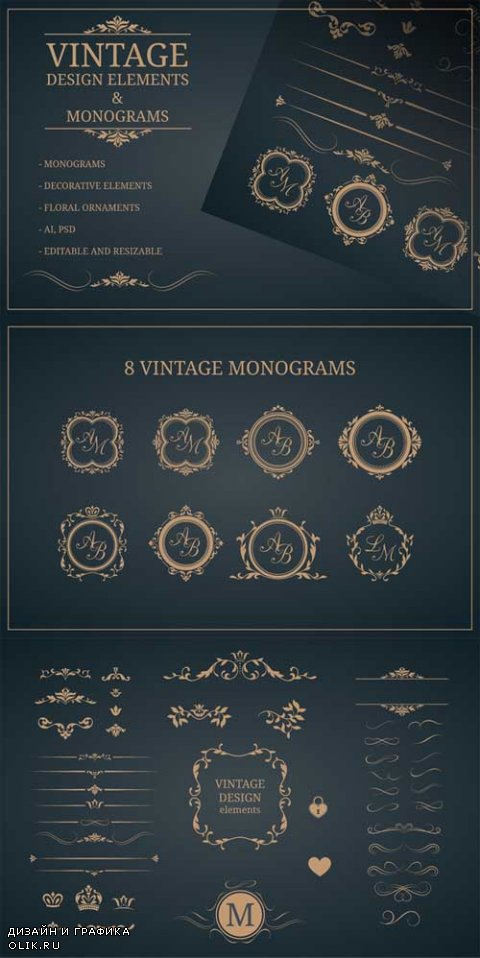 Vintage design elements &monograms - 555539