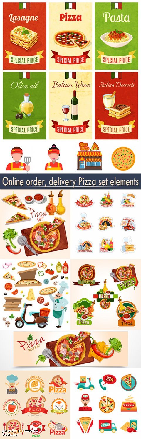 Online order, delivery Pizza set elements