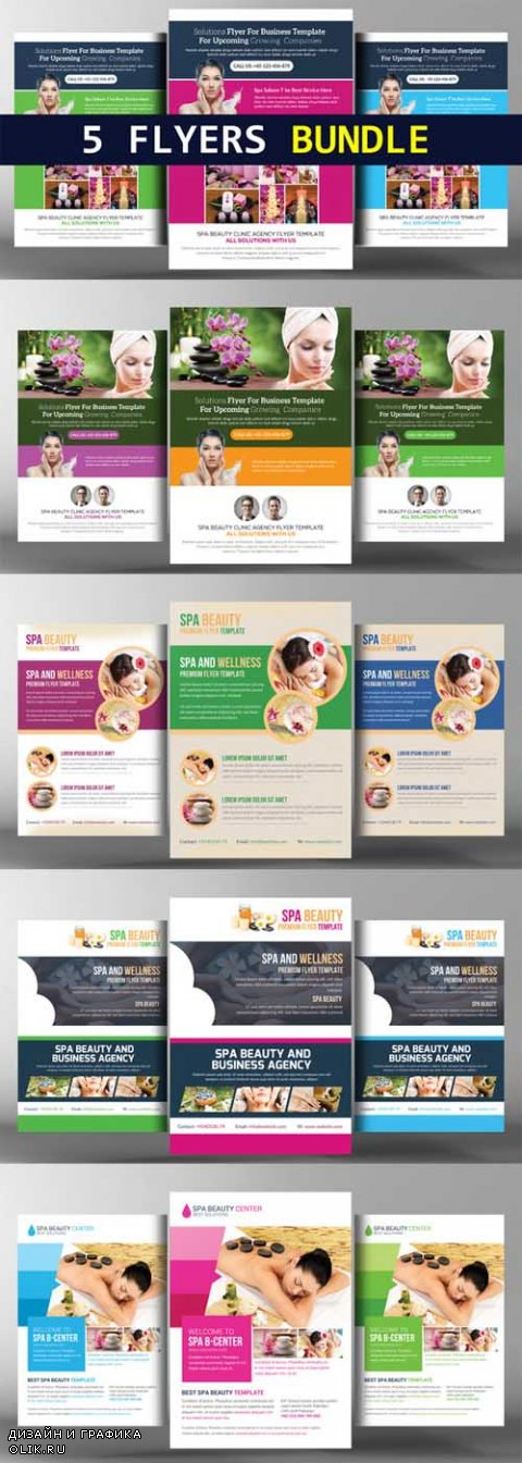 5 Spa Corporate Flyers Bundle - 596758
