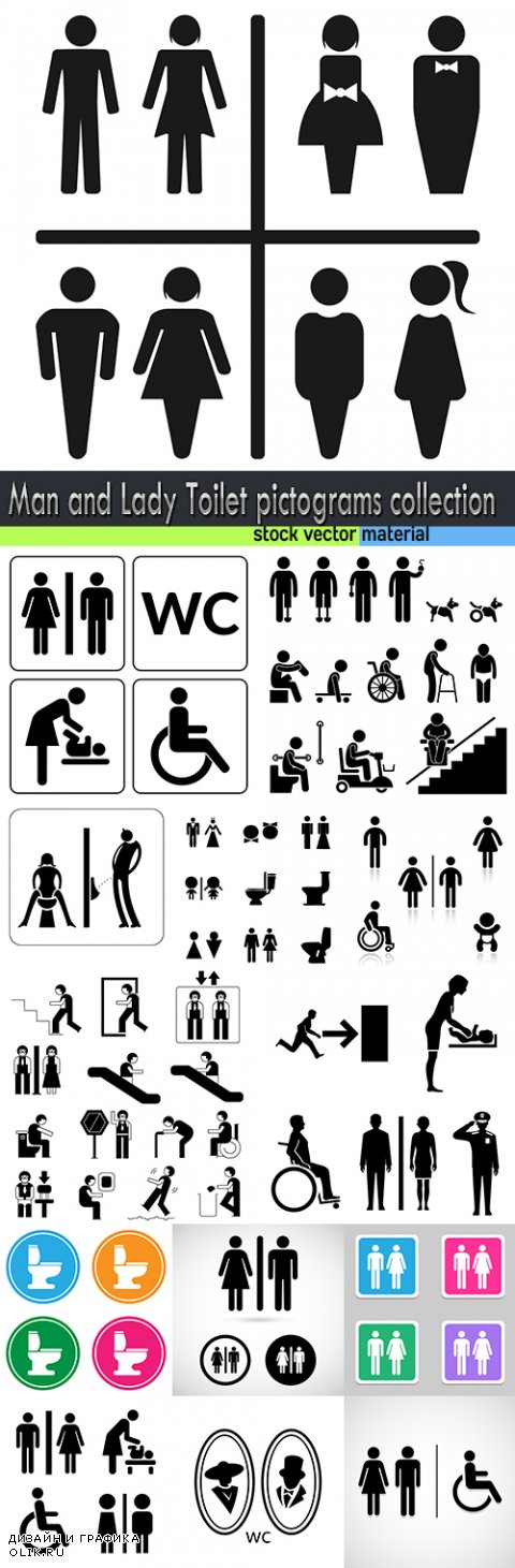 Man and Lady Toilet pictograms collection