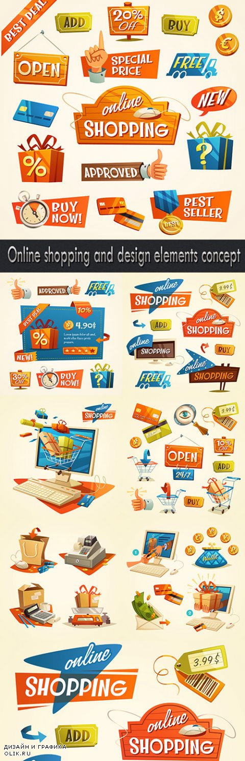Online shopping and design elements concept
