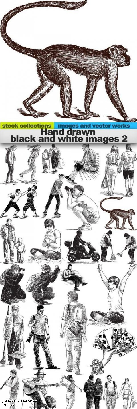 Hand drawn black and white images 2