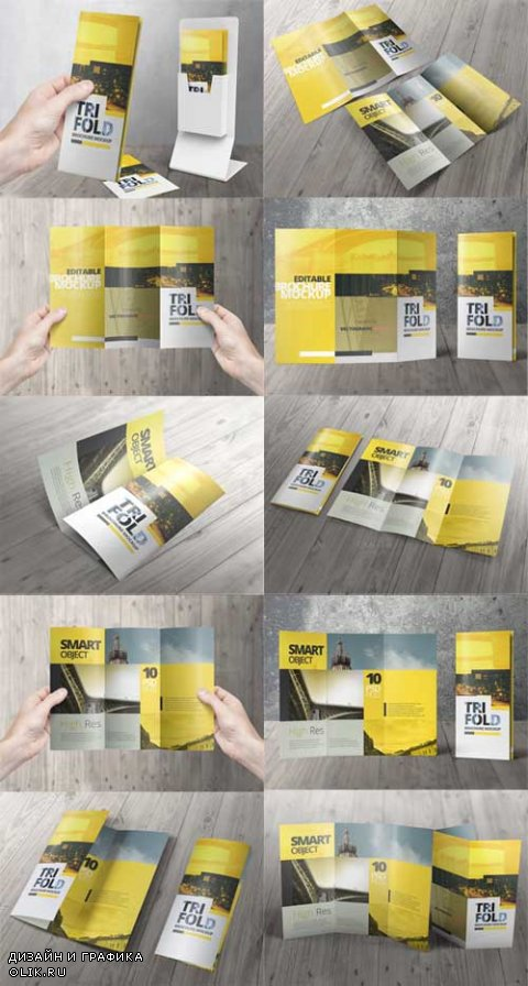 High Res Tri Fold Brochure Mockups - 635991
