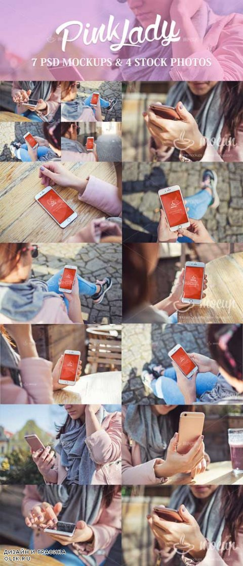 7 Mockups 4 Photos iPhone Pink Lady - 638986
