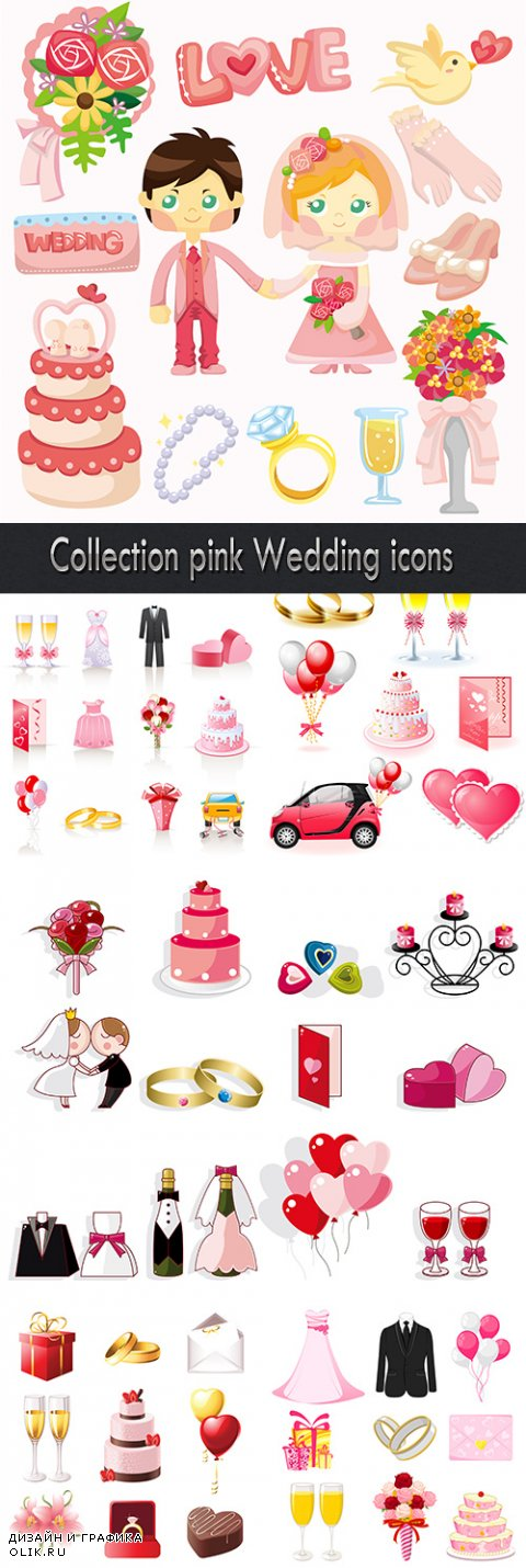 Collection pink Wedding icons