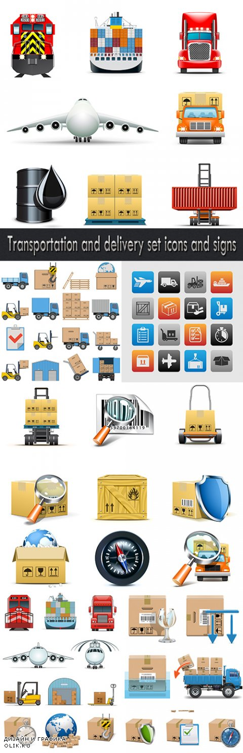 Transportation and delivery set icons and signs