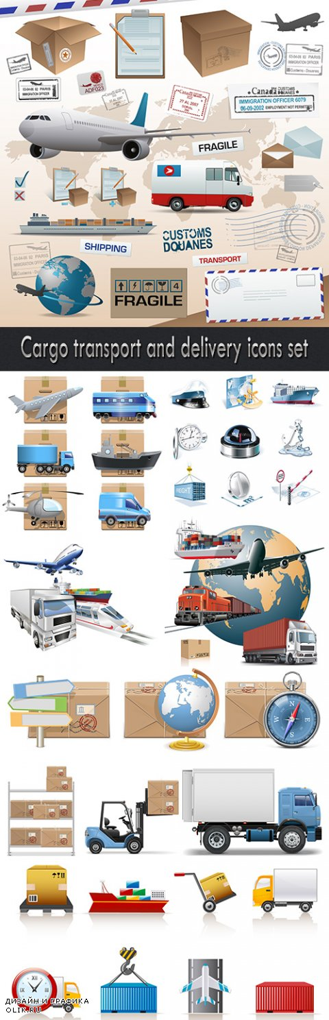 Cargo transport and delivery icons set