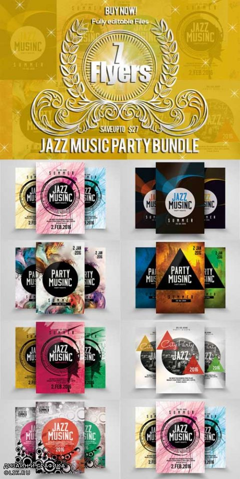 7 Jazz Music Party Flyer Bundle - 625850