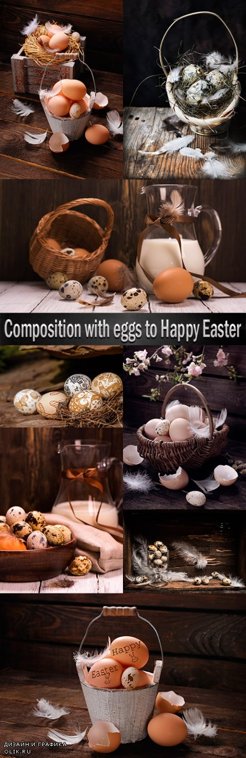 Composition with eggs to Happy Easter