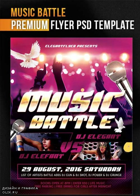 Music Battle V1 Flyer PSD Template + Facebook Cover
