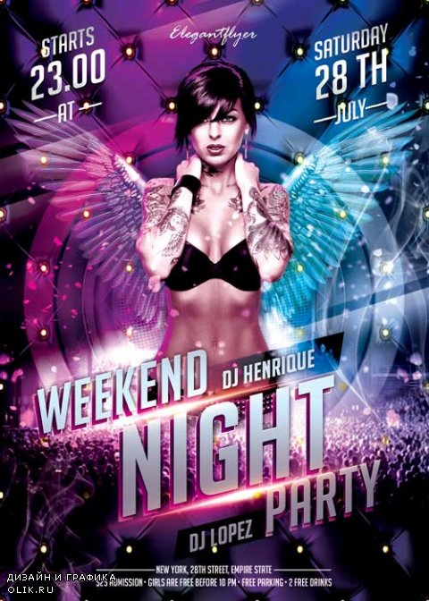Weekend Night Party Flyer PSD Template + Facebook Cover