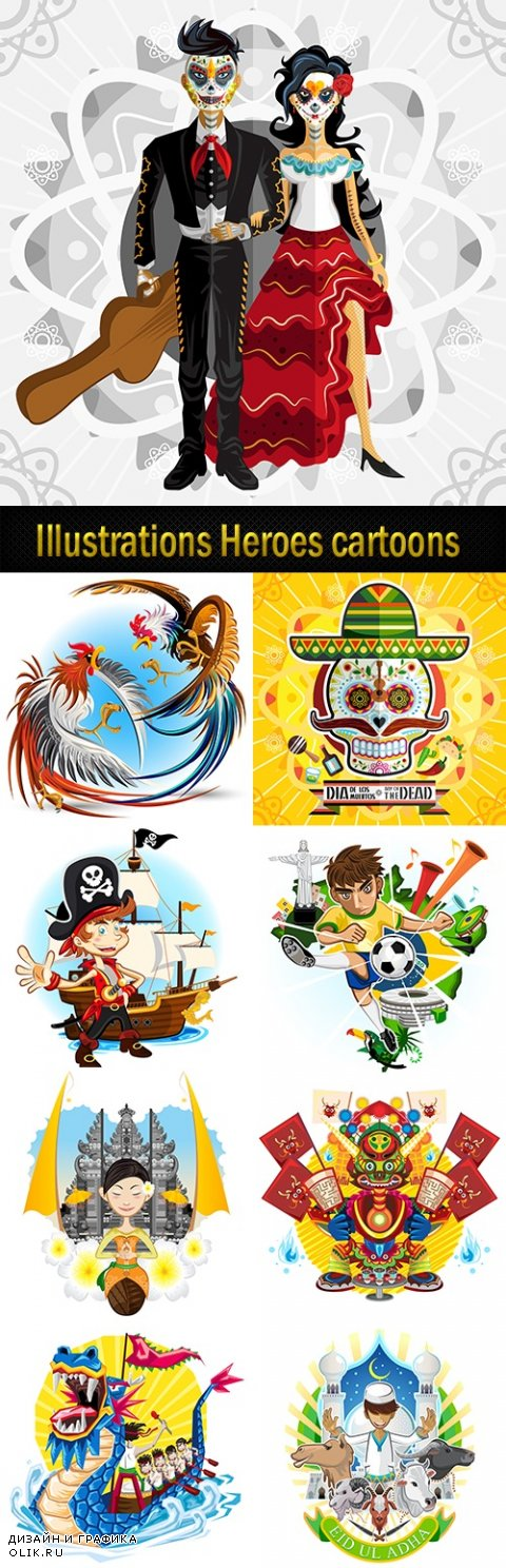 Illustrations Heroes cartoons