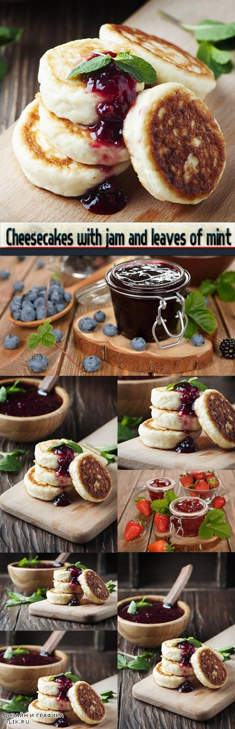 Cheesecakes with jam and leaves of mint