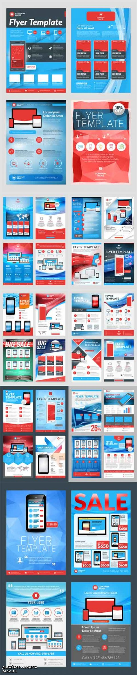 Vector Business Flyer Design Templates for Mobile Application or New Smartphone