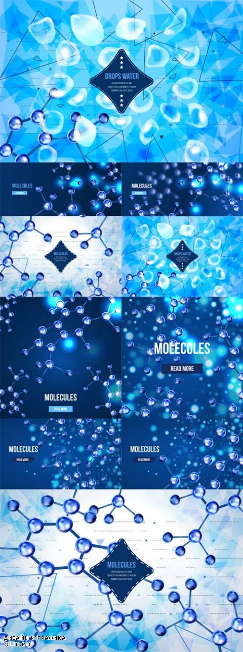Vector Abstract background with geometric shapes and molecules design