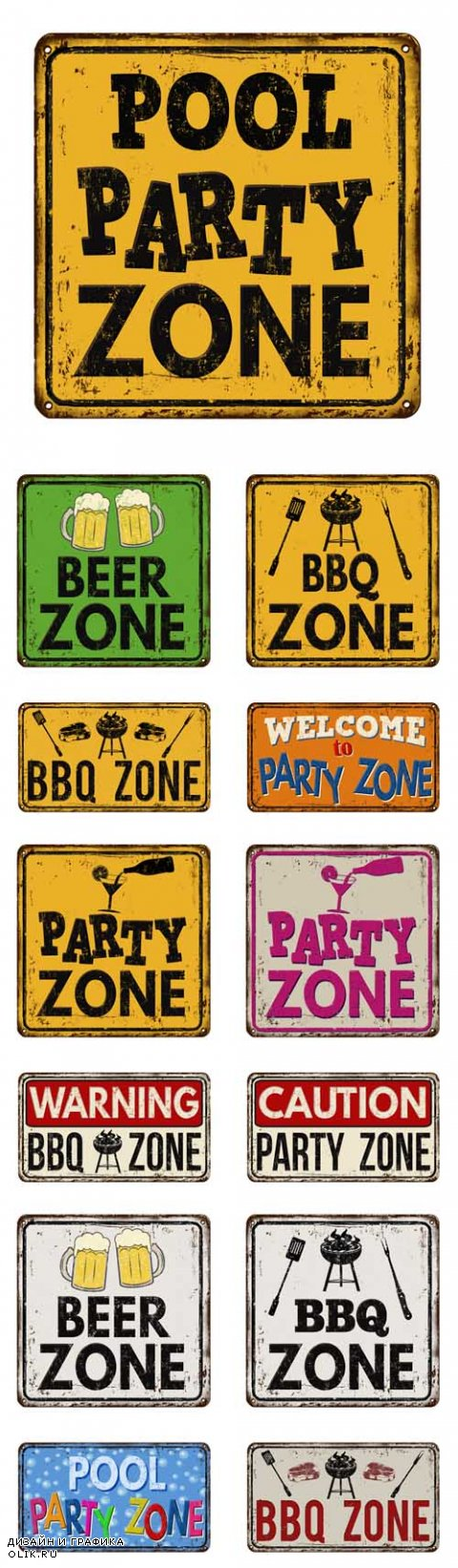 Vector Party and BBQ Zone Vintage Rusty Metal Signs