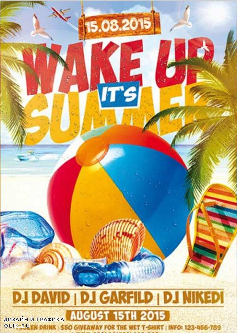 Wake up its Summer V1 Premium Flyer Template + Facebook Cover