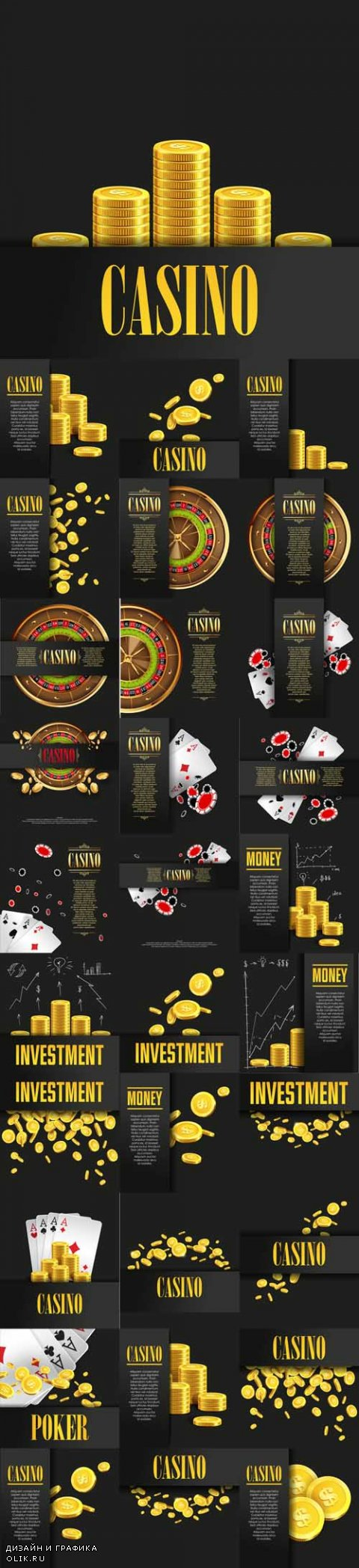 Vector Casino Poster Backgrounds or Flyer with Golden Money Coins