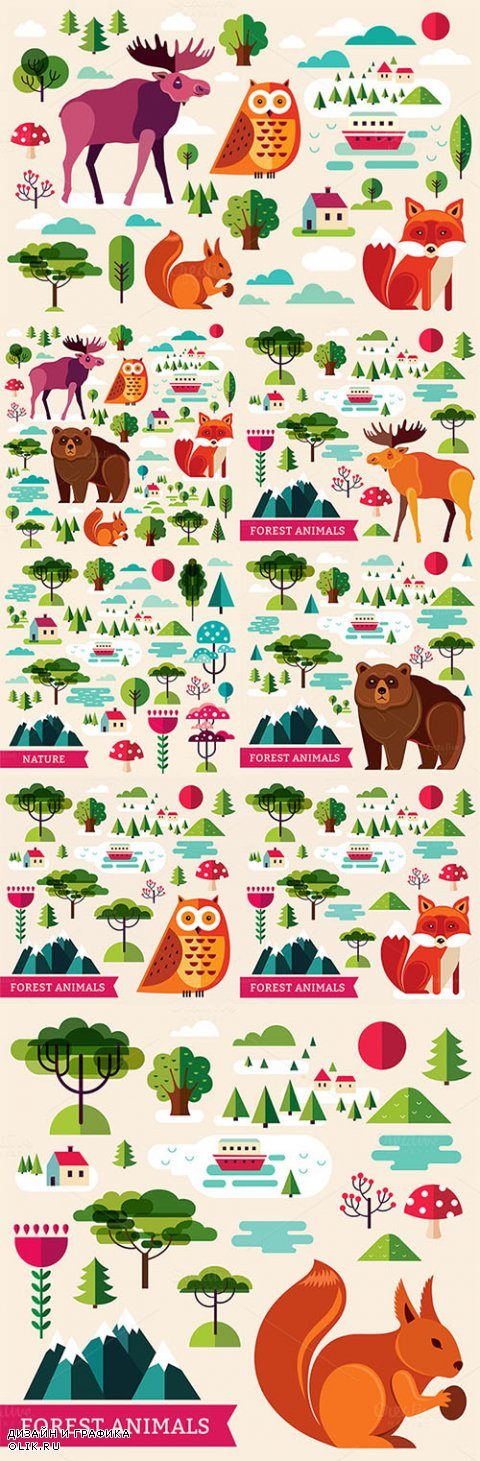 Set with forest animals and nature - Creativemarket 535873