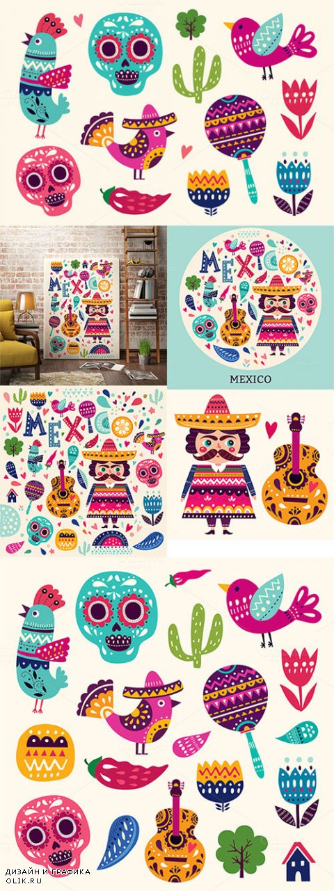 Vector set of Mexican illustrations - Creativemarket 552706