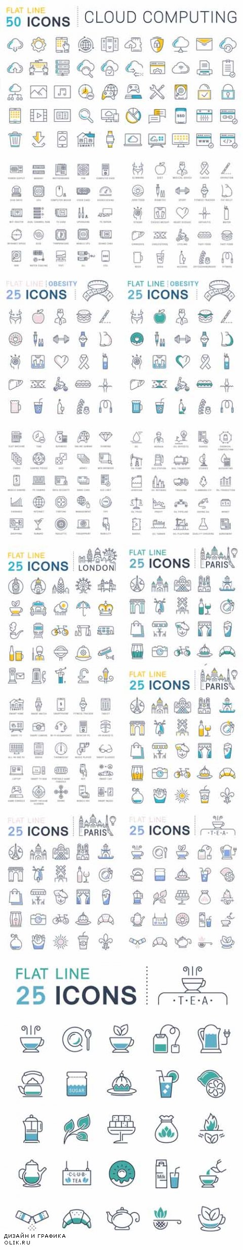 Vector Different Flat Line Icons