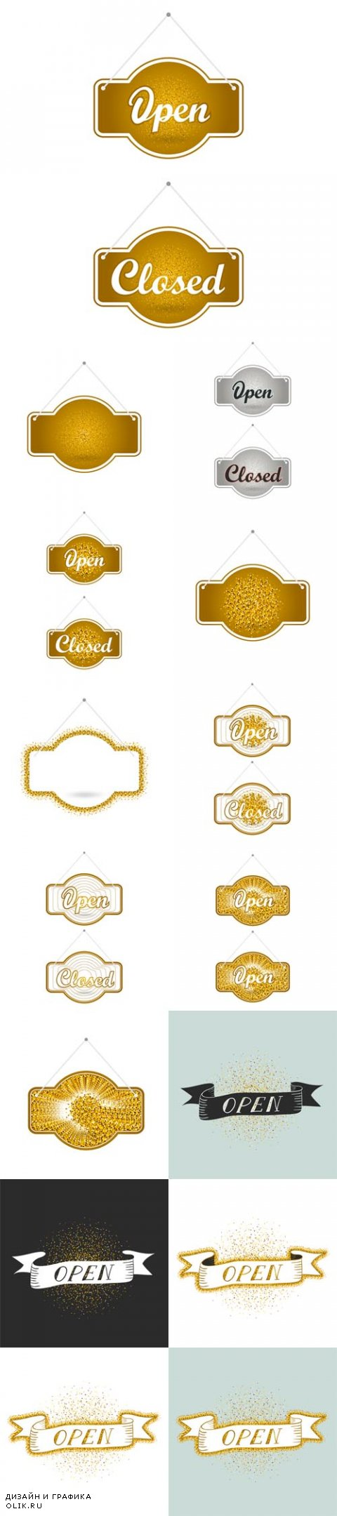 Vector Gold Sparkling Ribbons with the Inscription Open