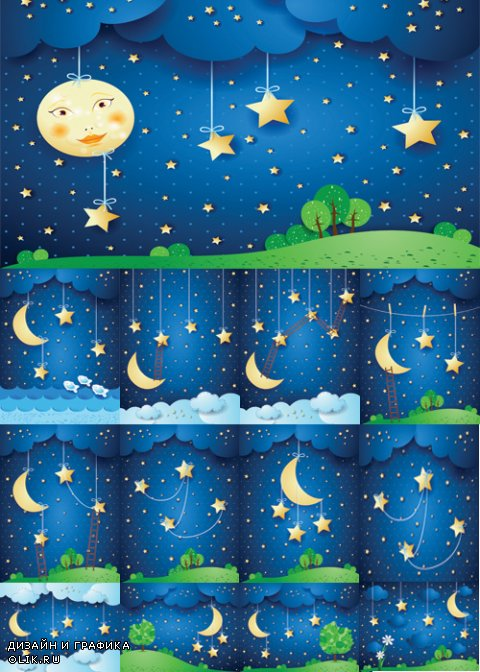 Night scenery vector material