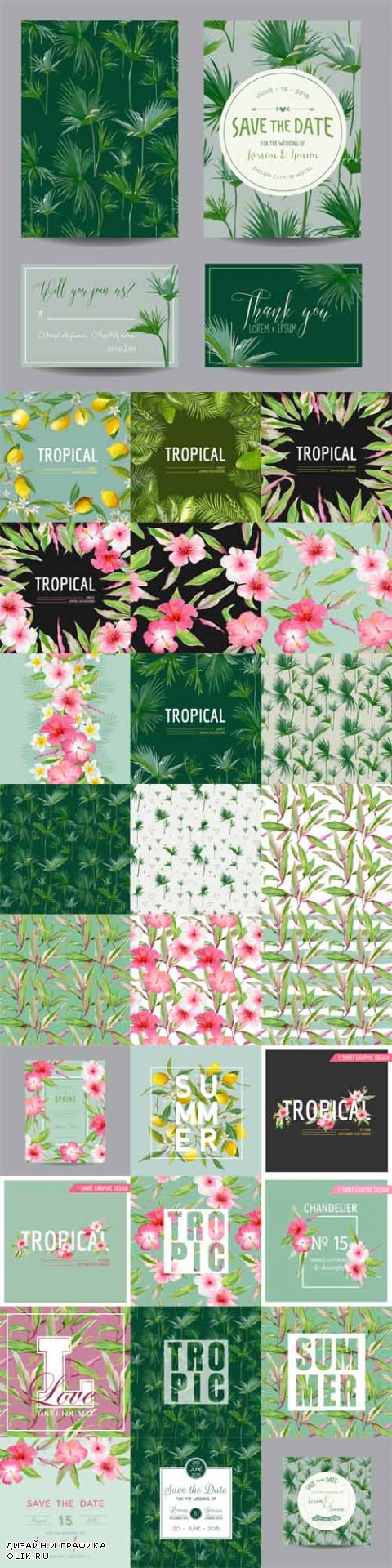Vector Tropical Cards and Seamless Patterns