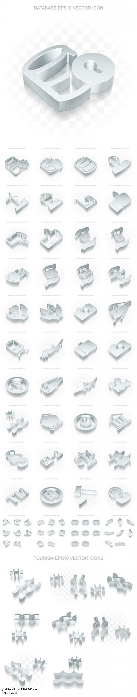 Vector Flat Metallic 3d Icons Transparent Shadow