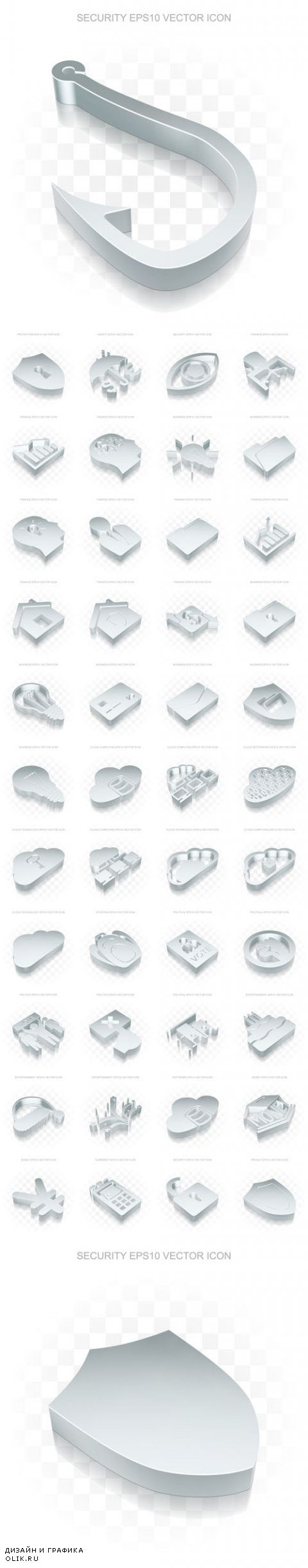 Vector Flat Metallic 3d Icons Transparent Shadow 2