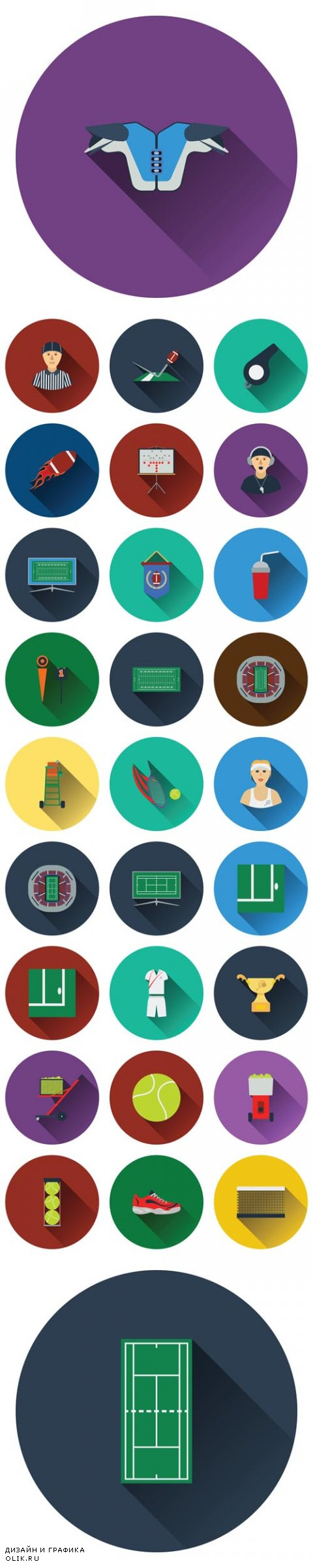 Vector Tennis and Americal Football Flat Icons