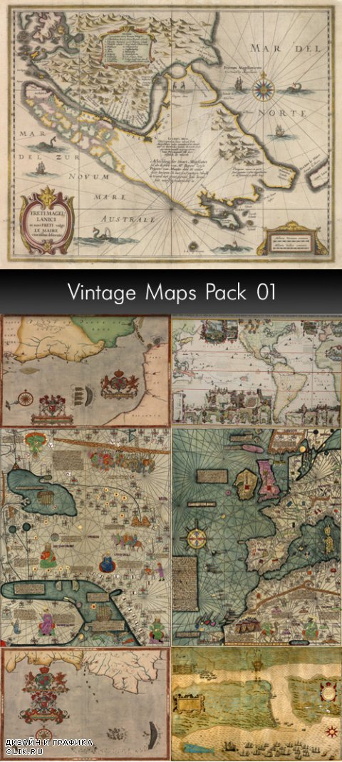 Vintage Geographical Maps, pack 1
