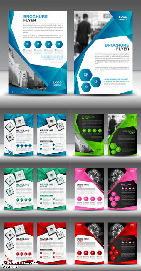 Vector Brochures flyers design layout template in A4 size