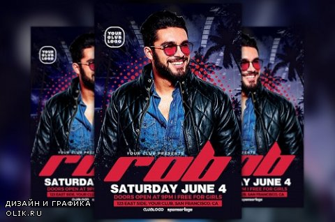 DJ Rob Club Party Flyer Template - 813654